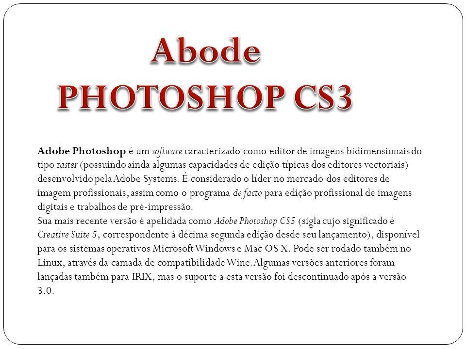 Adobe Photoshop é um software caracterizado como editor de imagens bidimensionais do tipo raster (possuindo ainda algumas capacidades de edição típica