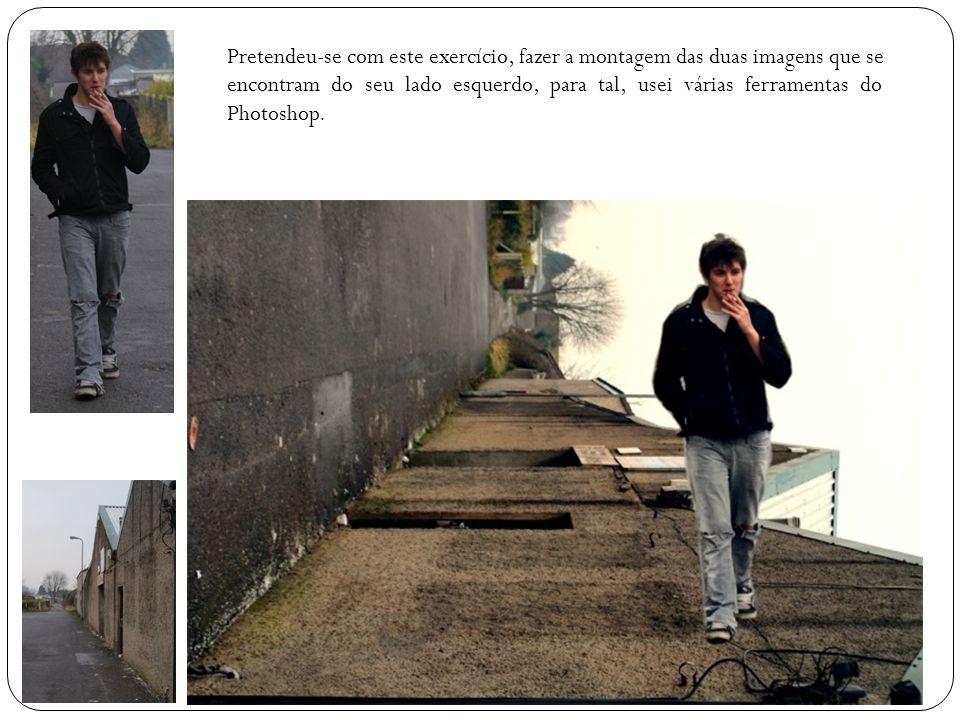 Pretendeu-se com este exercício, fazer a montagem das duas imagens que se encontram do seu lado esquerdo, para tal, usei várias ferramentas do Photosh