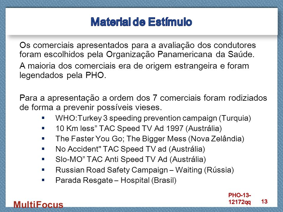 MultiFocus Os comerciais apresentados para a avaliação dos condutores foram escolhidos pela Organização Panamericana da Saúde. A maioria dos comerciai