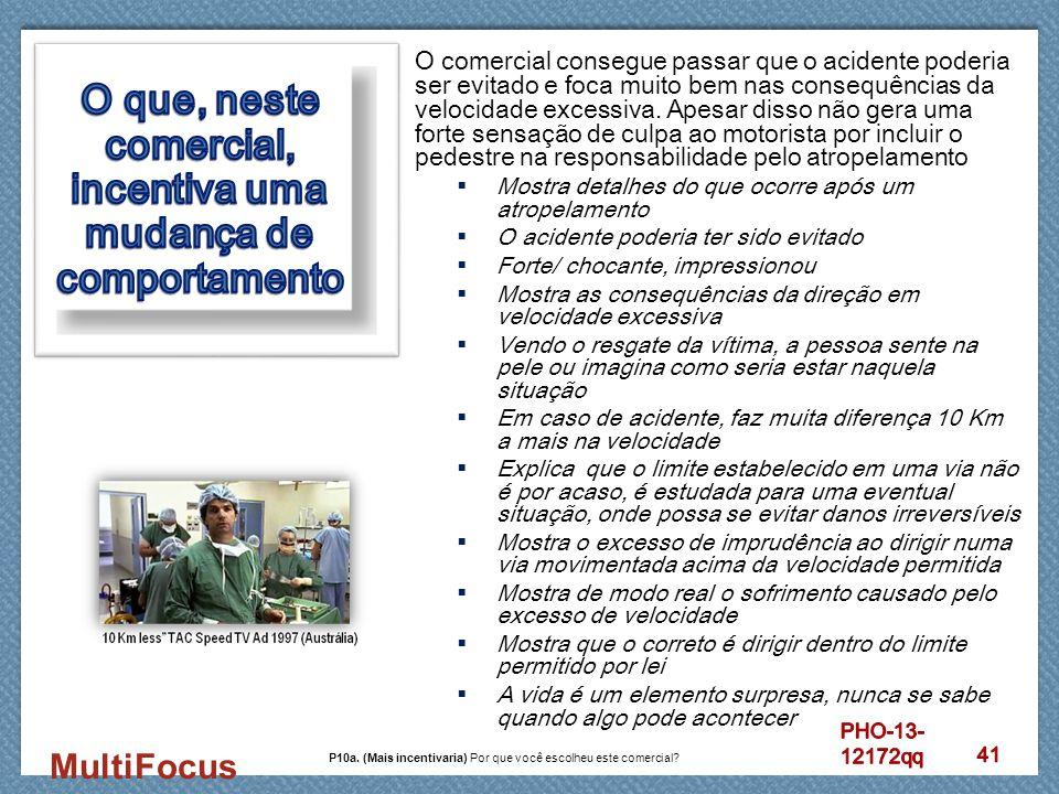 MultiFocus O comercial consegue passar que o acidente poderia ser evitado e foca muito bem nas consequências da velocidade excessiva. Apesar disso não