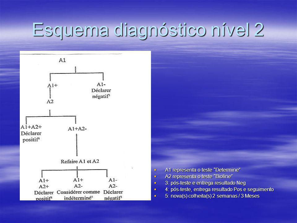 Esquema diagnóstico nível 2  A1 representa o teste Determine  A2 representa o teste Bioline  3: pós-teste e entrega resultado Neg  4: pós-teste, entrega resultado Pos e seguimento  5: nova(s) colheita(s) 2 semanas / 3 Meses