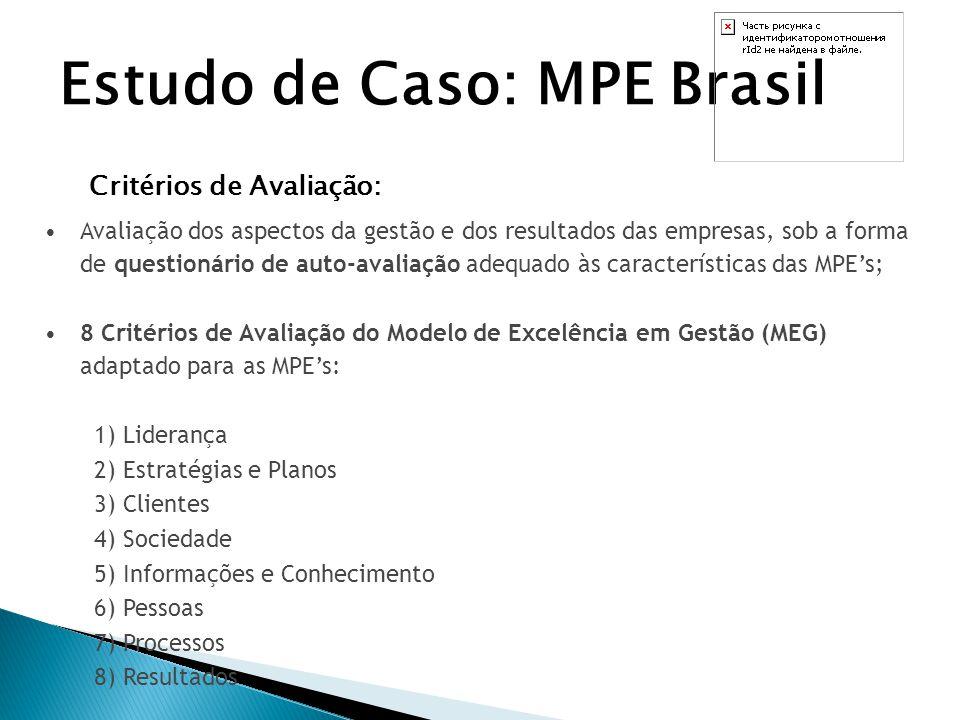 Estudo de Caso: MPE Brasil MODELO DE EXCELÊNCIA EM GESTÃO Melhorias em processos e produtos; Redução de custos; Aumento da produtividade e, conseqüentemente, de sua competitividade; Aumento da credibilidade da empresa e o reconhecimento público; Maior flexibilidade frente às mudanças; Melhores condições de atingir e manter desempenho desejado