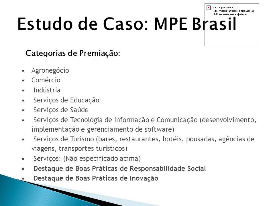 Estudo de Caso: MPE Brasil Critérios de Avaliação: Avaliação dos aspectos da gestão e dos resultados das empresas, sob a forma de questionário de auto-avaliação adequado às características das MPE's; 8 Critérios de Avaliação do Modelo de Excelência em Gestão (MEG) adaptado para as MPE's: 1) Liderança 2) Estratégias e Planos 3) Clientes 4) Sociedade 5) Informações e Conhecimento 6) Pessoas 7) Processos 8) Resultados