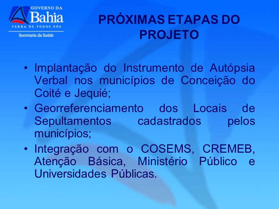PRÓXIMAS ETAPAS DO PROJETO Implantação do Instrumento de Autópsia Verbal nos municípios de Conceição do Coité e Jequié; Georreferenciamento dos Locais