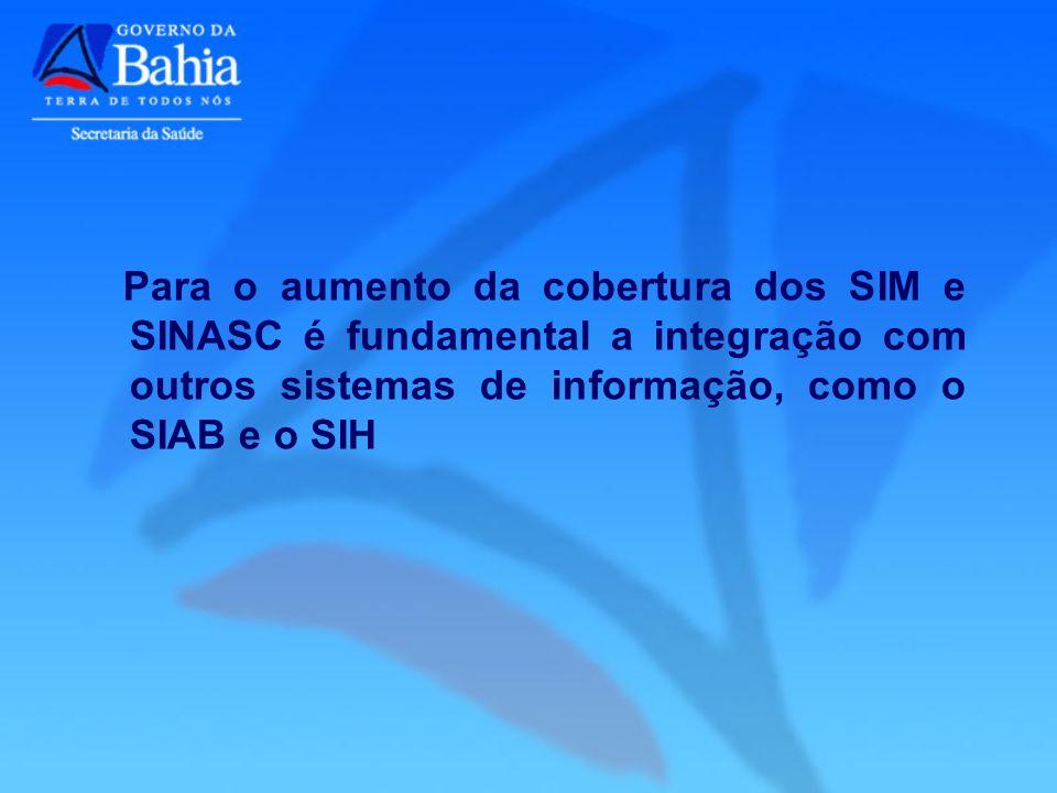 Para o aumento da cobertura dos SIM e SINASC é fundamental a integração com outros sistemas de informação, como o SIAB e o SIH