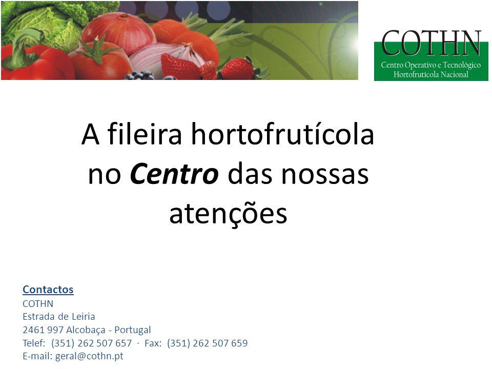 A fileira hortofrutícola no Centro das nossas atenções Contactos COTHN Estrada de Leiria 2461 997 Alcobaça - Portugal Telef: (351) 262 507 657 · Fax: (351) 262 507 659 E-mail: geral@cothn.pt