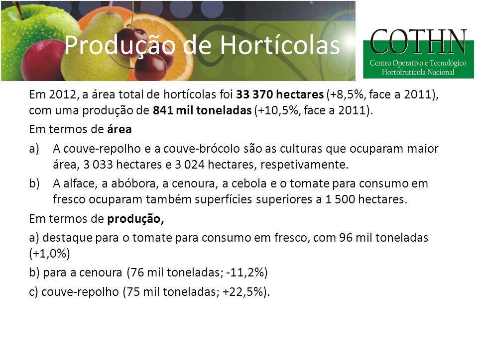 Produção de Hortícolas Em 2012, a área total de hortícolas foi 33 370 hectares (+8,5%, face a 2011), com uma produção de 841 mil toneladas (+10,5%, face a 2011).