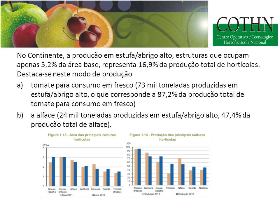 No Continente, a produção em estufa/abrigo alto, estruturas que ocupam apenas 5,2% da área base, representa 16,9% da produção total de hortícolas.