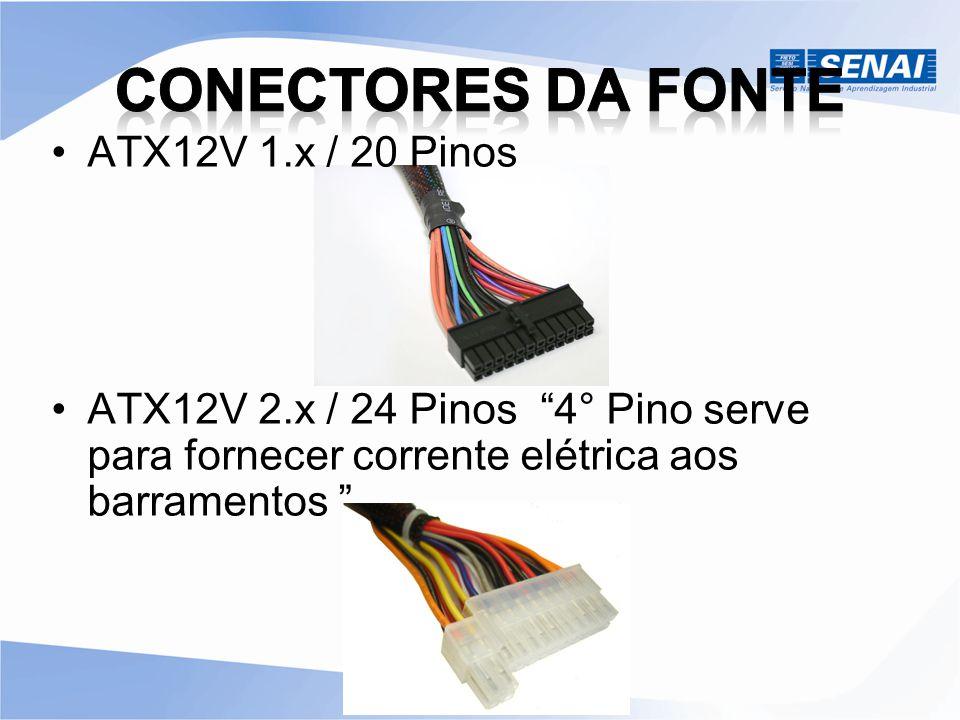 """ATX12V 1.x / 20 Pinos ATX12V 2.x / 24 Pinos """"4° Pino serve para fornecer corrente elétrica aos barramentos """""""
