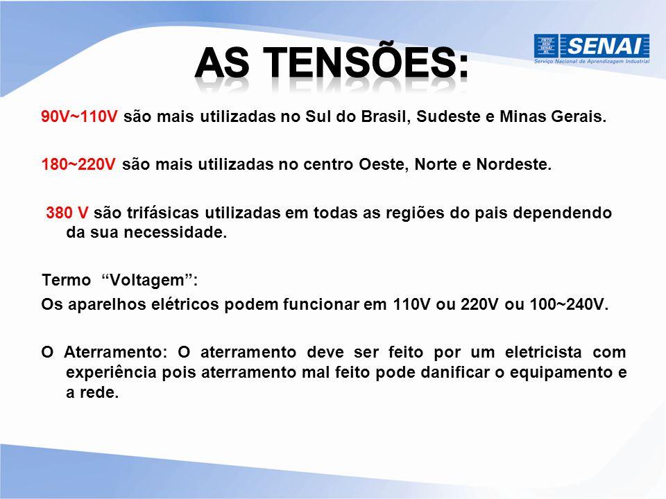 90V~110V são mais utilizadas no Sul do Brasil, Sudeste e Minas Gerais. 180~220V são mais utilizadas no centro Oeste, Norte e Nordeste. 380 V são trifá