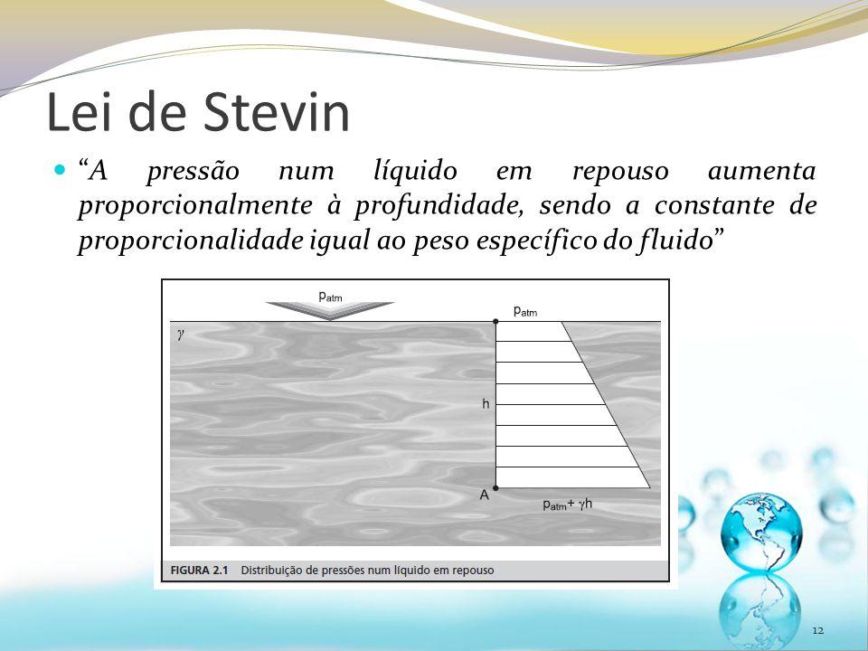 """Lei de Stevin """"A pressão num líquido em repouso aumenta proporcionalmente à profundidade, sendo a constante de proporcionalidade igual ao peso específ"""