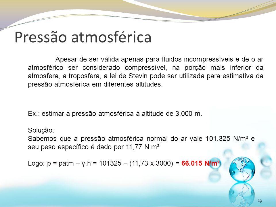 Pressão atmosférica 19 Apesar de ser válida apenas para fluidos incompressíveis e de o ar atmosférico ser considerado compressível, na porção mais inf