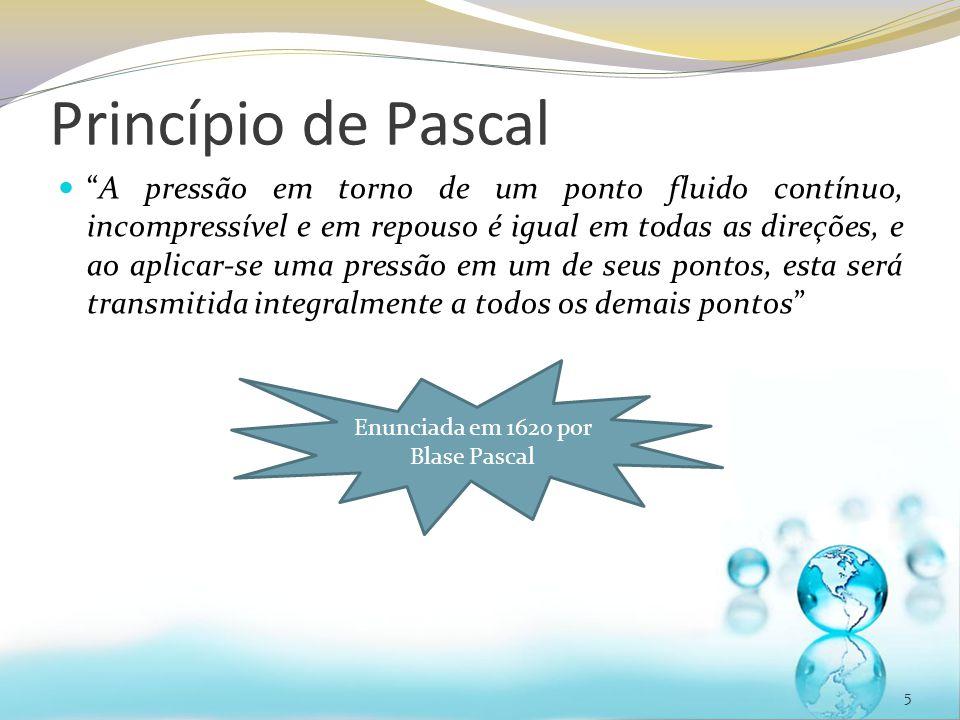 Princípio de Pascal A pressão em torno de um ponto fluido contínuo, incompressível e em repouso é igual em todas as direções, e ao aplicar-se uma pressão em um de seus pontos, esta será transmitida integralmente a todos os demais pontos. 6 Vasos comunicantes.