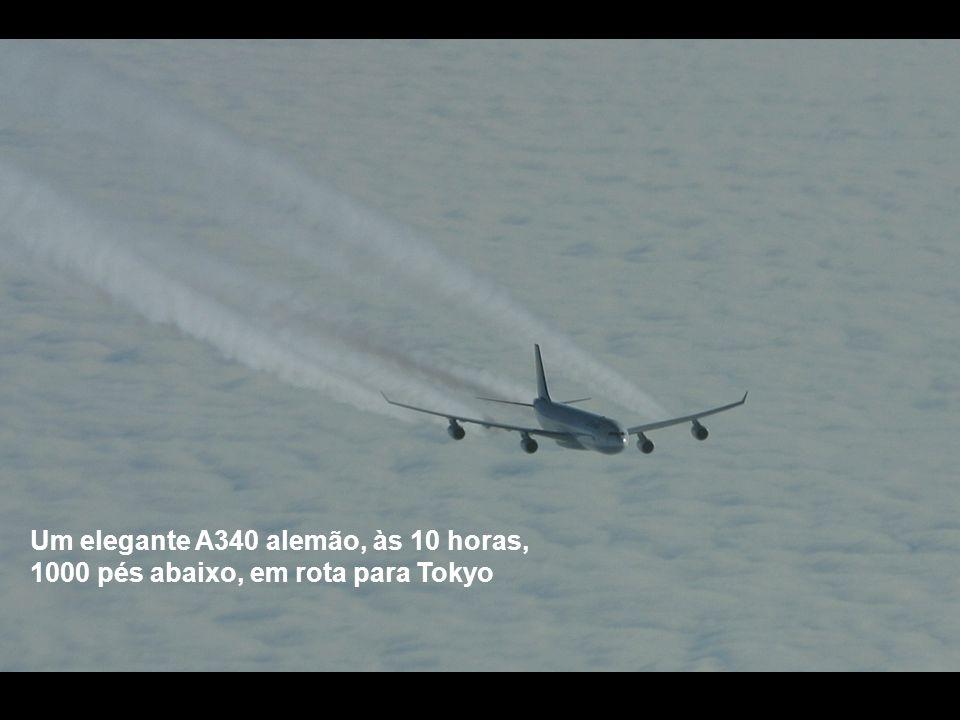 Um elegante A340 alemão, às 10 horas, 1000 pés abaixo, em rota para Tokyo