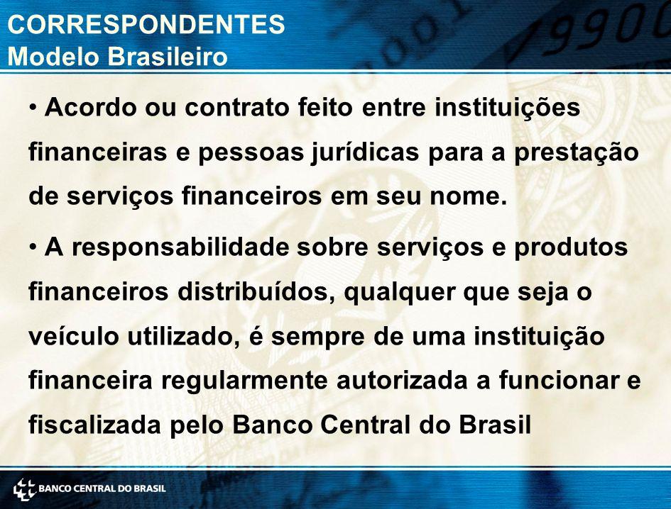 CORRESPONDENTES Modelo Brasileiro Acordo ou contrato feito entre instituições financeiras e pessoas jurídicas para a prestação de serviços financeiros em seu nome.