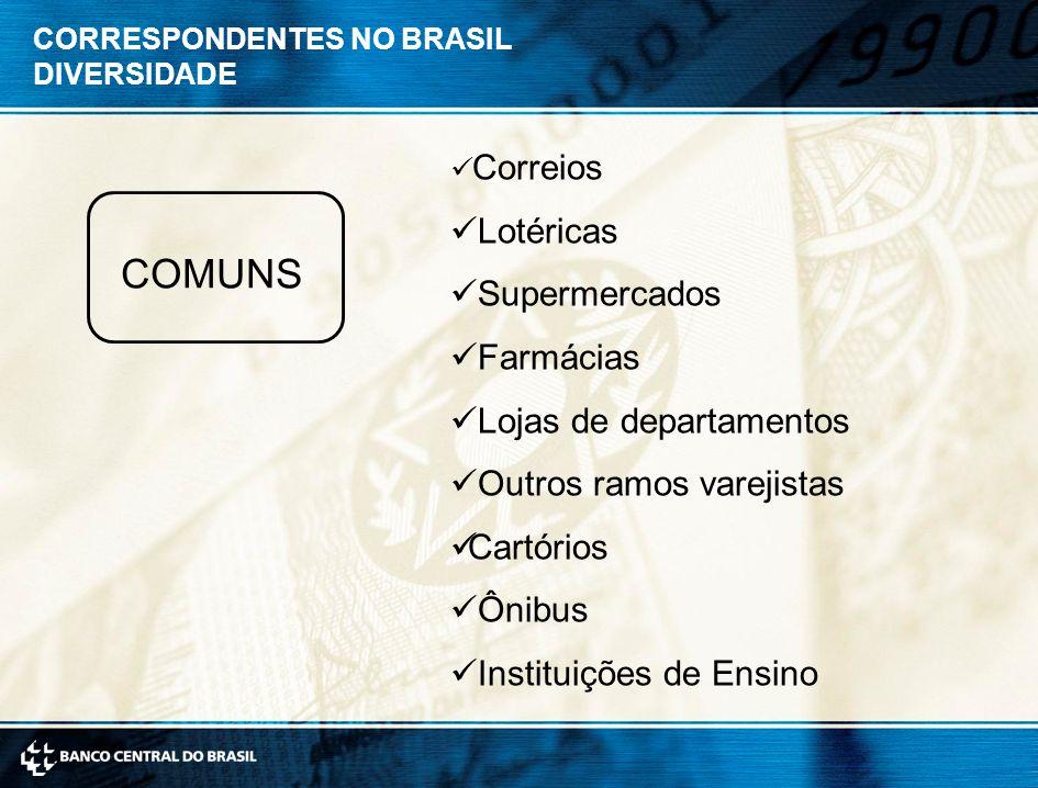 CORRESPONDENTES NO BRASIL DIVERSIDADE COMUNS Correios Lotéricas Supermercados Farmácias Lojas de departamentos Outros ramos varejistas Cartórios Ônibus Instituições de Ensino
