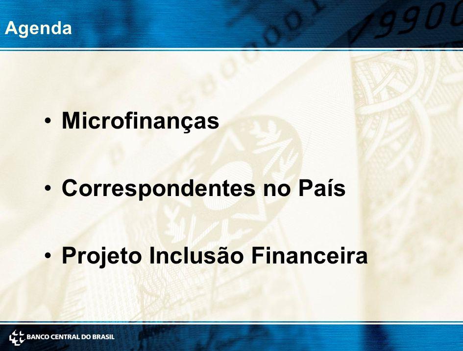 Agenda Microfinanças Correspondentes no País Projeto Inclusão Financeira
