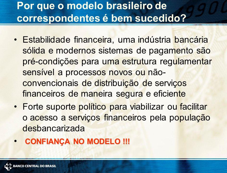 Por que o modelo brasileiro de correspondentes é bem sucedido? Estabilidade financeira, uma indústria bancária sólida e modernos sistemas de pagamento