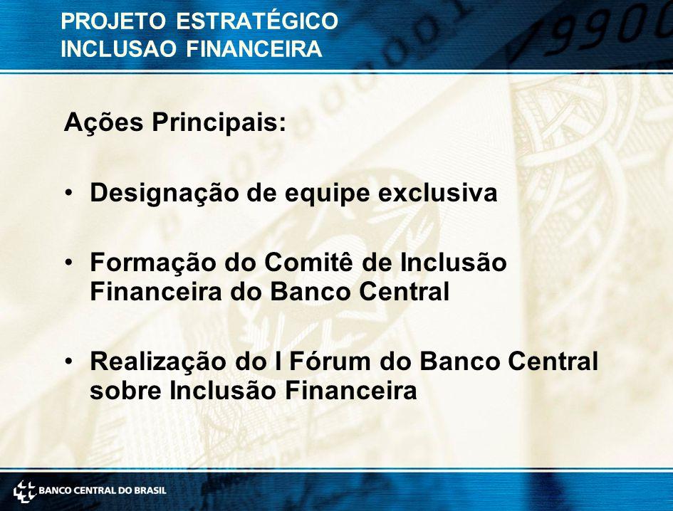 PROJETO ESTRATÉGICO INCLUSAO FINANCEIRA Ações Principais: Designação de equipe exclusiva Formação do Comitê de Inclusão Financeira do Banco Central Realização do I Fórum do Banco Central sobre Inclusão Financeira