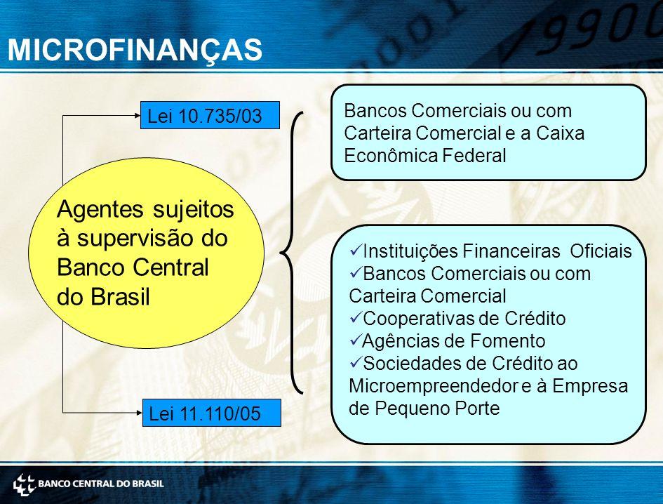 Bancos Comerciais ou com Carteira Comercial e a Caixa Econômica Federal Lei 10.735/03 Instituições Financeiras Oficiais Bancos Comerciais ou com Carteira Comercial Cooperativas de Crédito Agências de Fomento Sociedades de Crédito ao Microempreendedor e à Empresa de Pequeno Porte Agentes sujeitos à supervisão do Banco Central do Brasil Lei 11.110/05