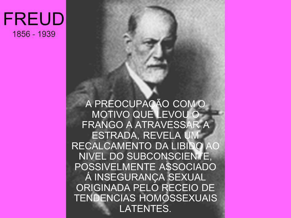 FREUD 1856 - 1939 A PREOCUPAÇÃO COM O MOTIVO QUE LEVOU O FRANGO A ATRAVESSAR A ESTRADA, REVELA UM RECALCAMENTO DA LIBIDO AO NIVEL DO SUBCONSCIENTE, POSSIVELMENTE ASSOCIADO Á INSEGURANÇA SEXUAL ORIGINADA PELO RECEIO DE TENDENCIAS HOMOSSEXUAIS LATENTES.