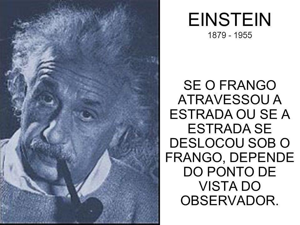 EINSTEIN 1879 - 1955 SE O FRANGO ATRAVESSOU A ESTRADA OU SE A ESTRADA SE DESLOCOU SOB O FRANGO, DEPENDE DO PONTO DE VISTA DO OBSERVADOR.