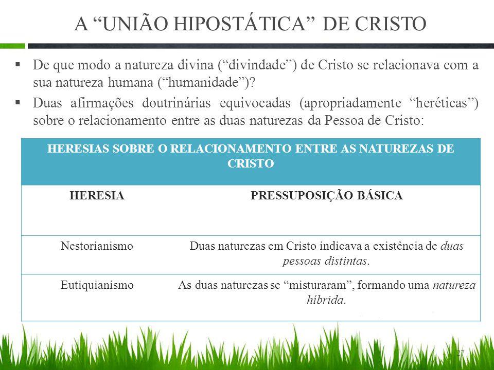 A UNIÃO HIPOSTÁTICA DE CRISTO  De que modo a natureza divina ( divindade ) de Cristo se relacionava com a sua natureza humana ( humanidade ).
