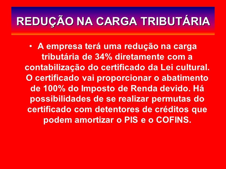 REDUÇÃO NA CARGA TRIBUTÁRIA A empresa terá uma redução na carga tributária de 34% diretamente com a contabilização do certificado da Lei cultural.