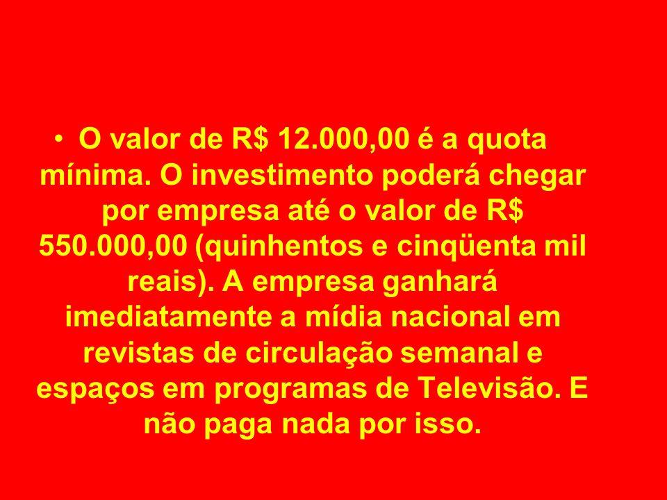 O valor de R$ 12.000,00 é a quota mínima.