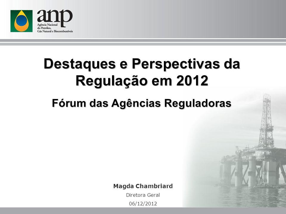 Magda Chambriard Diretora Geral 06/12/2012 Destaques e Perspectivas da Regulação em 2012 Fórum das Agências Reguladoras