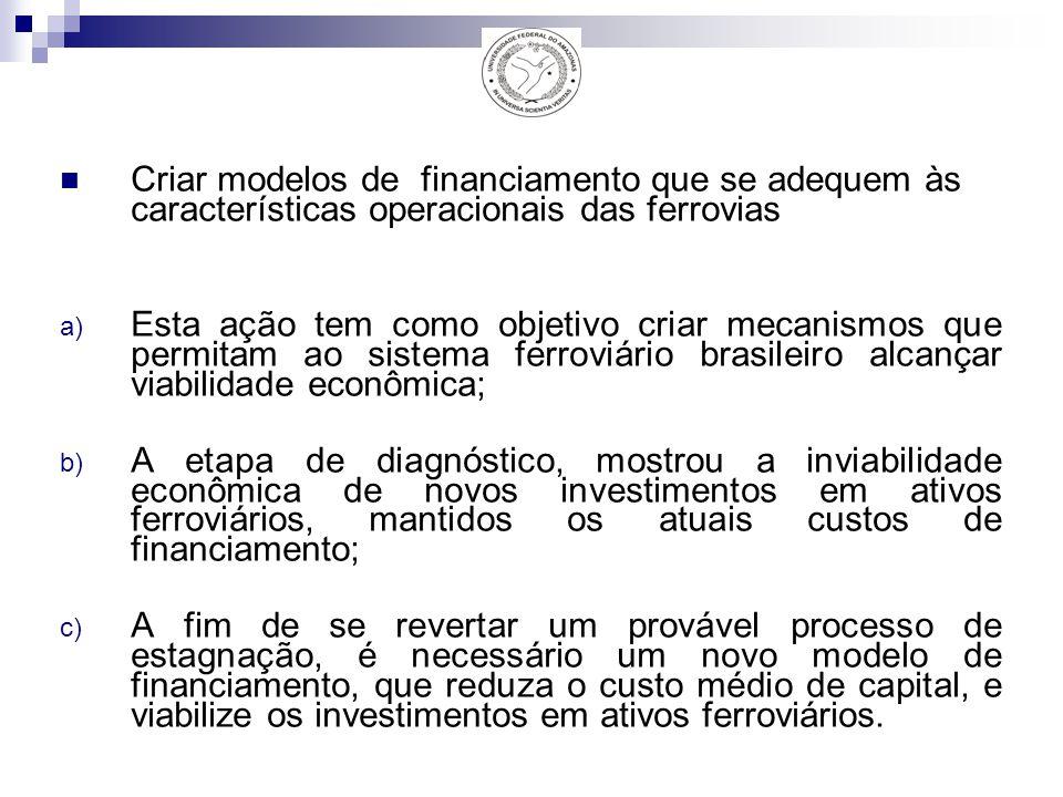 Criar modelos de financiamento que se adequem às características operacionais das ferrovias a) Esta ação tem como objetivo criar mecanismos que permitam ao sistema ferroviário brasileiro alcançar viabilidade econômica; b) A etapa de diagnóstico, mostrou a inviabilidade econômica de novos investimentos em ativos ferroviários, mantidos os atuais custos de financiamento; c) A fim de se revertar um provável processo de estagnação, é necessário um novo modelo de financiamento, que reduza o custo médio de capital, e viabilize os investimentos em ativos ferroviários.