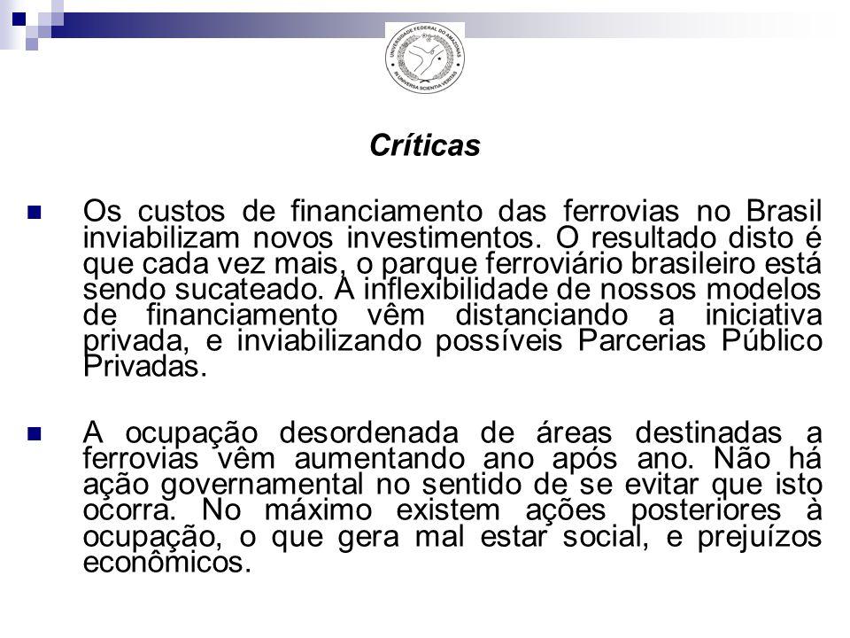 Críticas Os custos de financiamento das ferrovias no Brasil inviabilizam novos investimentos.