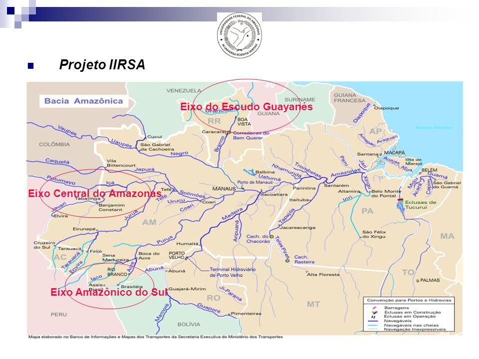 Projeto IIRSA Eixo Central do Amazonas Eixo do Escudo Guayanés Eixo Amazônico do Sul