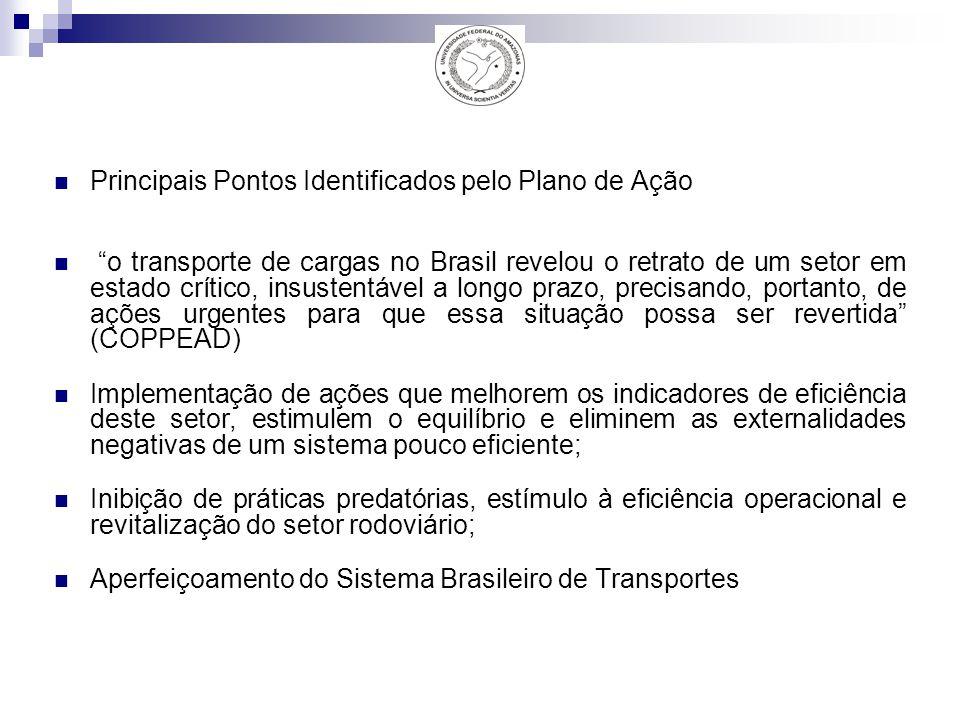 Principais Pontos Identificados pelo Plano de Ação o transporte de cargas no Brasil revelou o retrato de um setor em estado crítico, insustentável a longo prazo, precisando, portanto, de ações urgentes para que essa situação possa ser revertida (COPPEAD) Implementação de ações que melhorem os indicadores de eficiência deste setor, estimulem o equilíbrio e eliminem as externalidades negativas de um sistema pouco eficiente; Inibição de práticas predatórias, estímulo à eficiência operacional e revitalização do setor rodoviário; Aperfeiçoamento do Sistema Brasileiro de Transportes