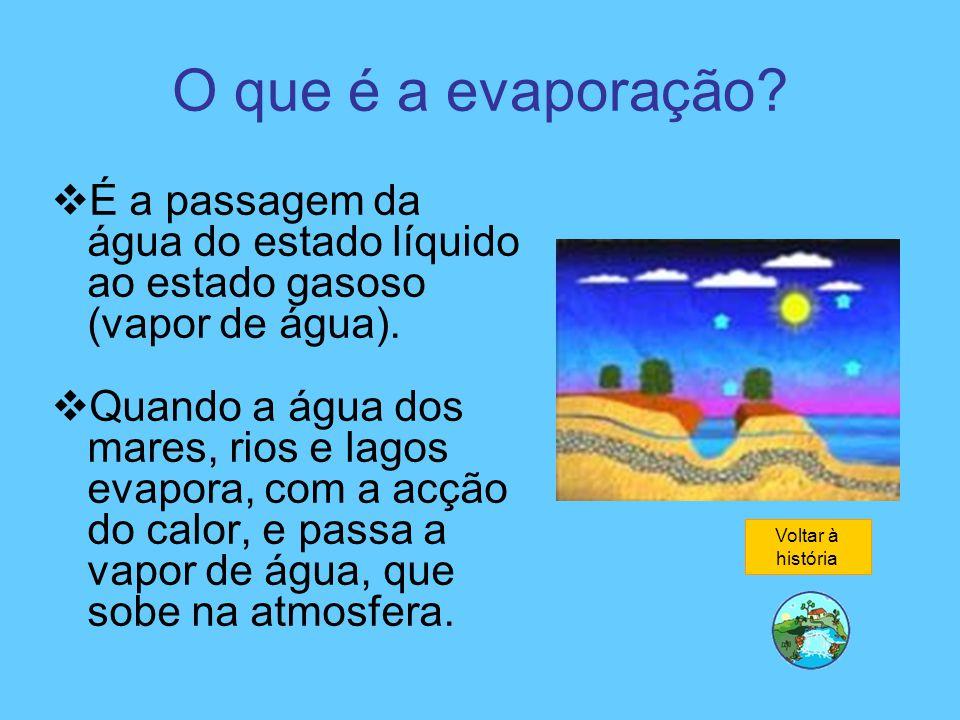 O que é a evaporação?  É a passagem da água do estado líquido ao estado gasoso (vapor de água).  Quando a água dos mares, rios e lagos evapora, com