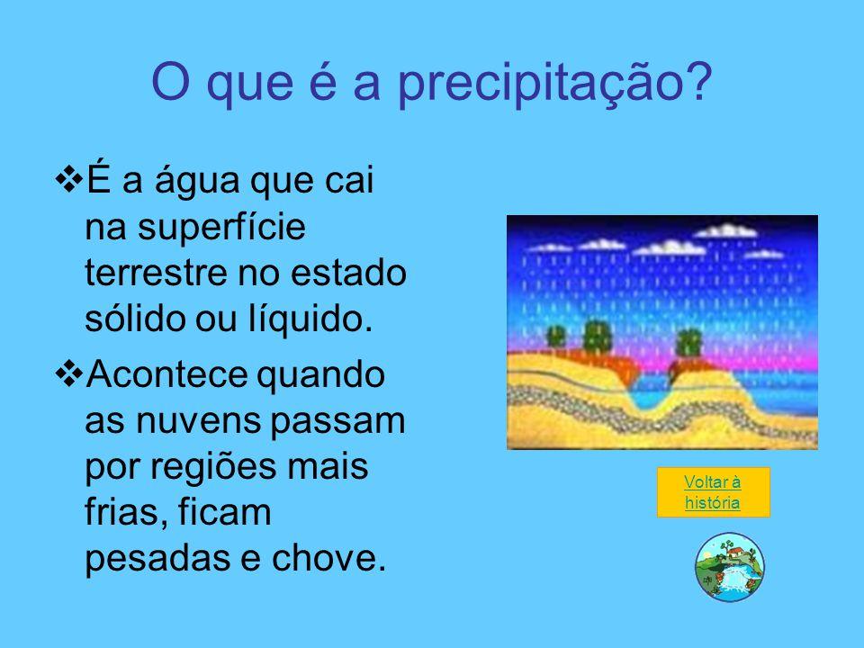 O que é a precipitação?  É a água que cai na superfície terrestre no estado sólido ou líquido.  Acontece quando as nuvens passam por regiões mais fr