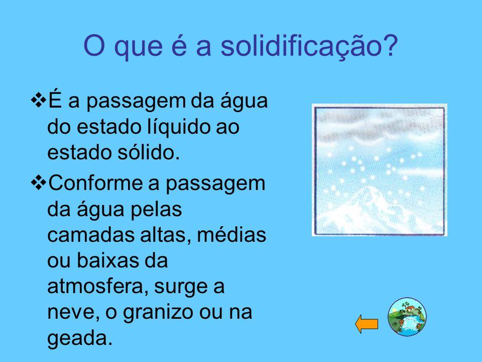 O que é a solidificação?  É a passagem da água do estado líquido ao estado sólido.  Conforme a passagem da água pelas camadas altas, médias ou baixa