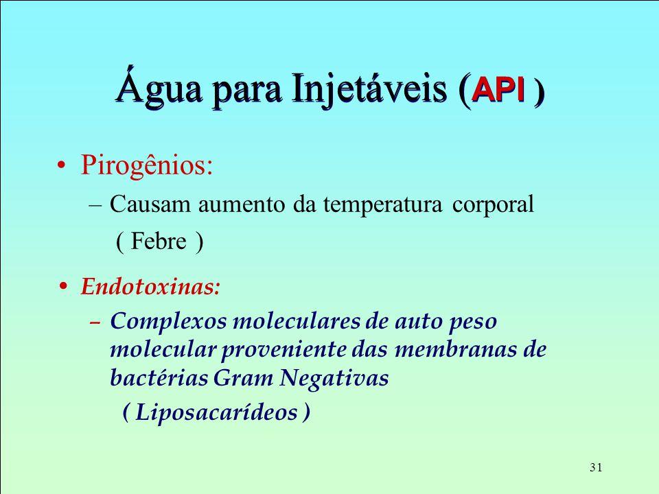 31 Água para Injetáveis ( API ) Pirogênios: –Causam aumento da temperatura corporal ( Febre ) Endotoxinas: – Complexos moleculares de auto peso molecu