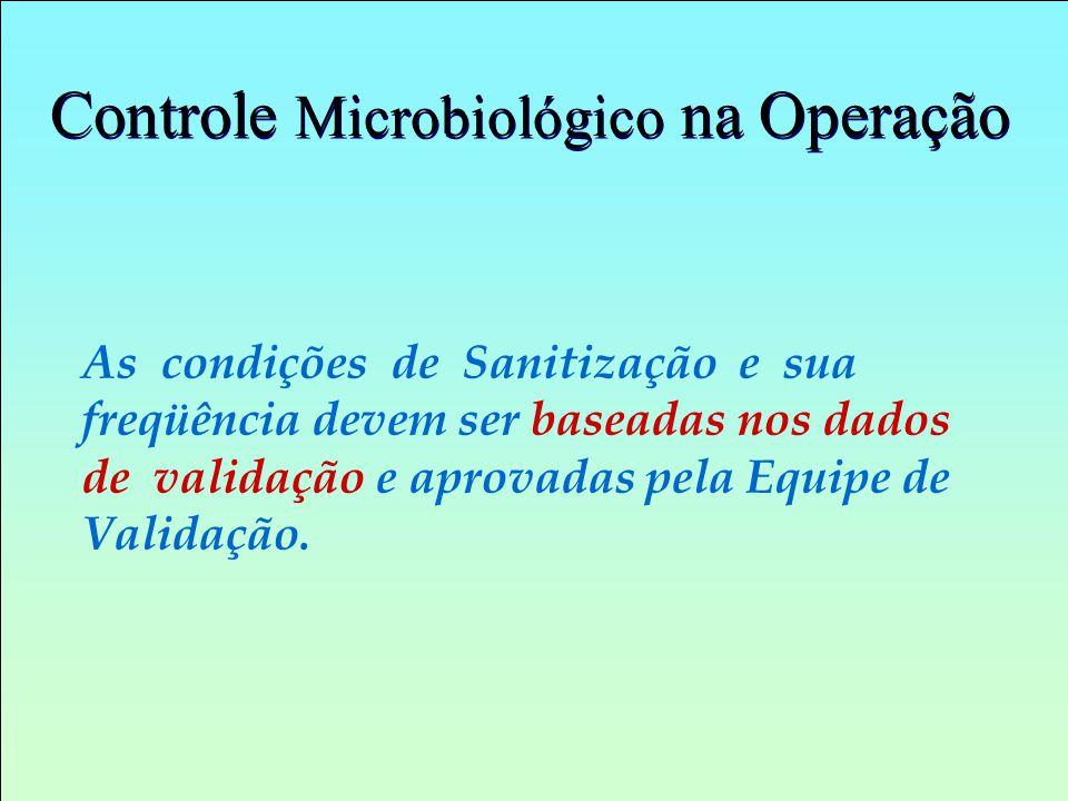 Controle Microbiológico na Operação As condições de Sanitização e sua freqüência devem ser baseadas nos dados de validação e aprovadas pela Equipe de