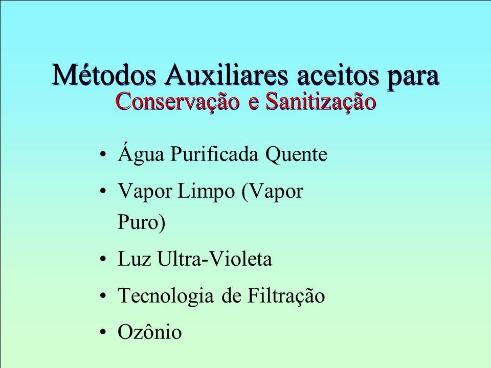 Métodos Auxiliares aceitos para Conservação e Sanitização Água Purificada Quente Vapor Limpo (Vapor Puro) Luz Ultra-Violeta Tecnologia de Filtração Oz