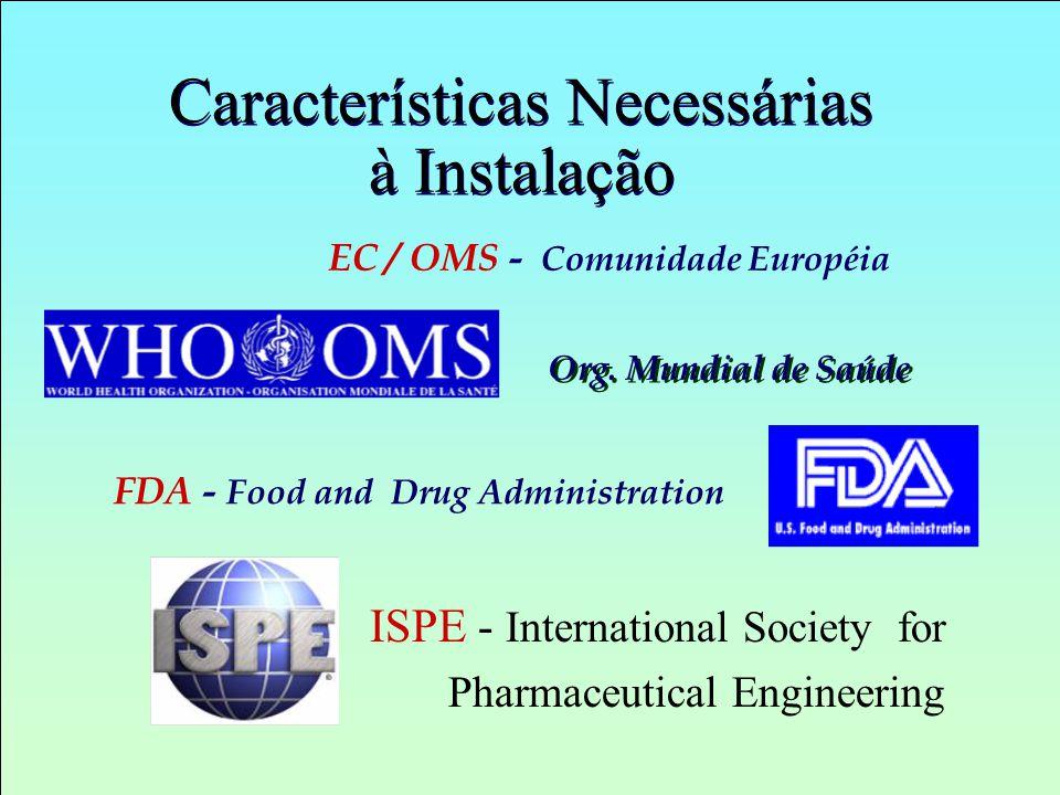 Características Necessárias à Instalação EC / OMS - Comunidade Européia FDA - Food and Drug Administration ISPE - International Society for Pharmaceut