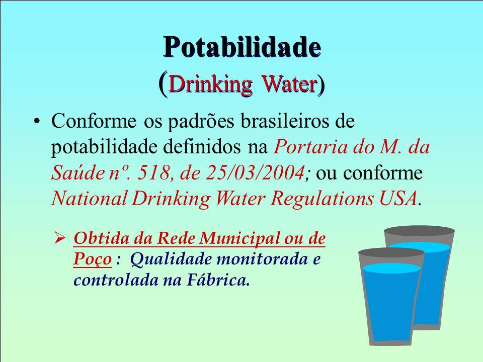 Potabilidade ( Drinking Water) Conforme os padrões brasileiros de potabilidade definidos na Portaria do M. da Saúde nº. 518, de 25/03/2004; ou conform