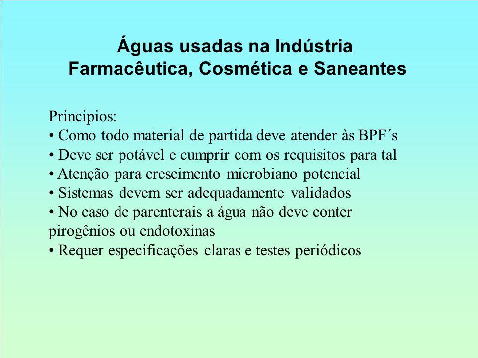Águas usadas na Indústria Farmacêutica, Cosmética e Saneantes Principios: Como todo material de partida deve atender às BPF´s Deve ser potável e cumpr