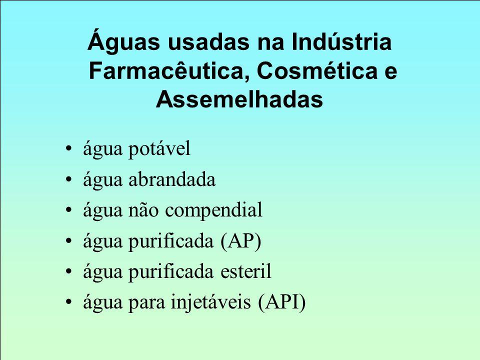 Águas usadas na Indústria Farmacêutica, Cosmética e Assemelhadas água potável água abrandada água não compendial água purificada (AP) água purificada