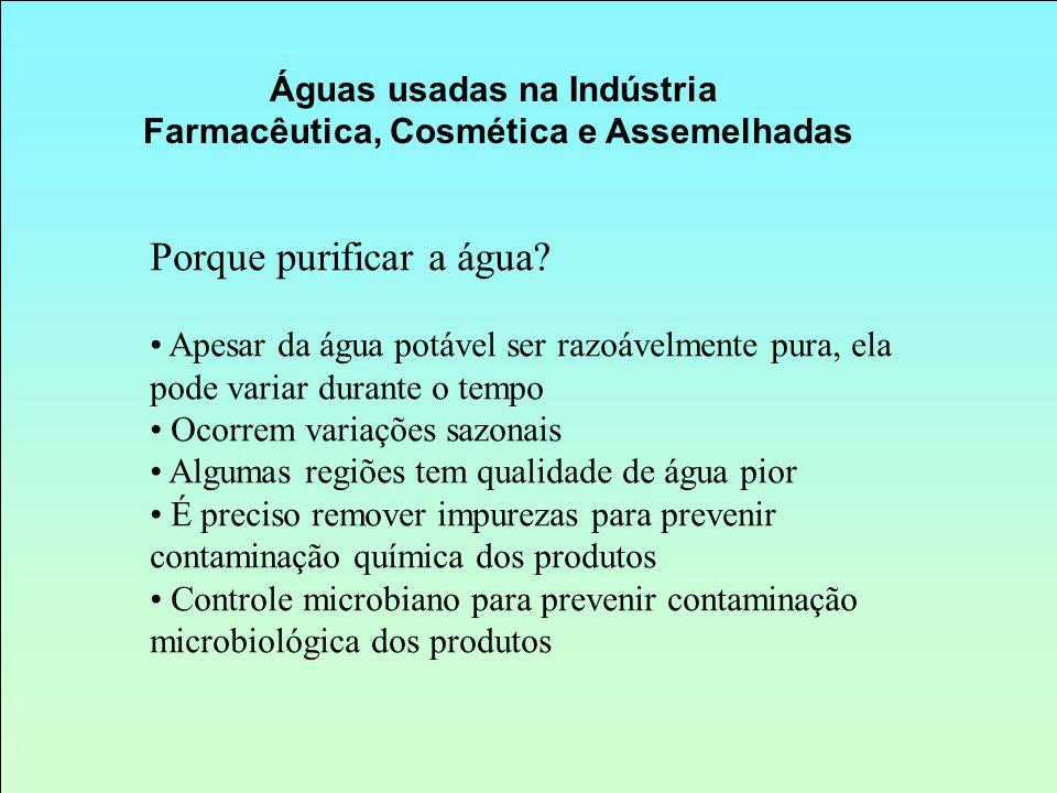 Águas usadas na Indústria Farmacêutica, Cosmética e Assemelhadas Porque purificar a água? Apesar da água potável ser razoávelmente pura, ela pode vari