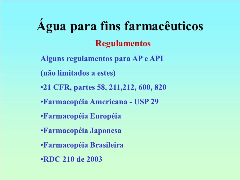 Regulamentos Alguns regulamentos para AP e API (não limitados a estes) 21 CFR, partes 58, 211,212, 600, 820 Farmacopéia Americana - USP 29 Farmacopéia