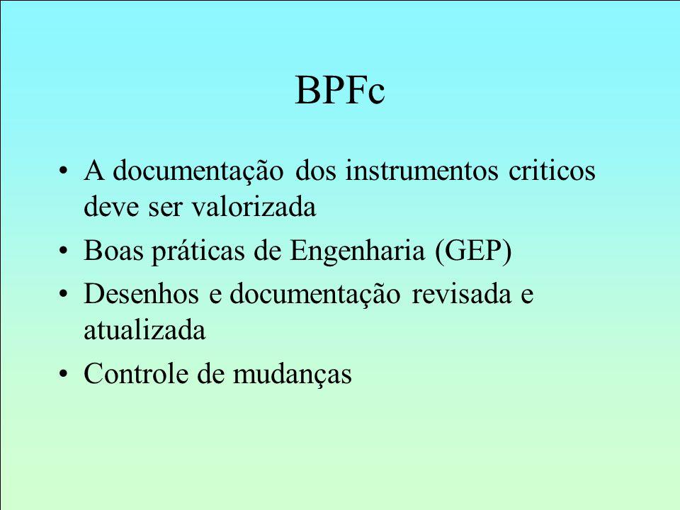 A documentação dos instrumentos criticos deve ser valorizada Boas práticas de Engenharia (GEP) Desenhos e documentação revisada e atualizada Controle