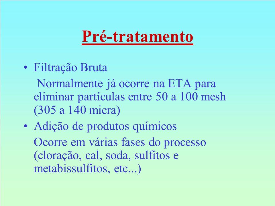 Pré-tratamento Filtração Bruta Normalmente já ocorre na ETA para eliminar partículas entre 50 a 100 mesh (305 a 140 micra) Adição de produtos químicos