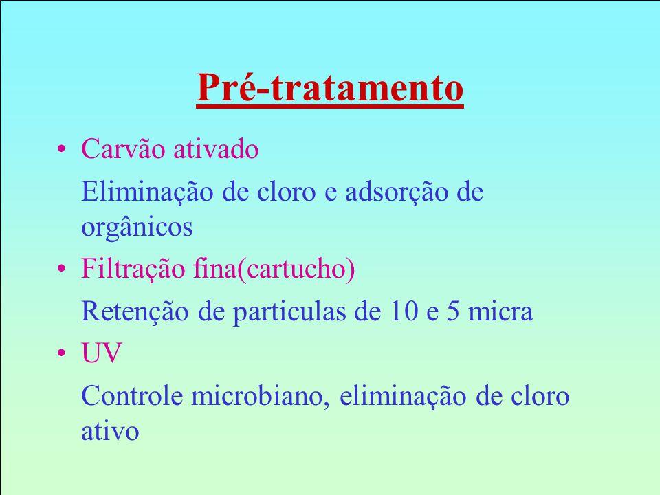 Pré-tratamento Carvão ativado Eliminação de cloro e adsorção de orgânicos Filtração fina(cartucho) Retenção de particulas de 10 e 5 micra UV Controle