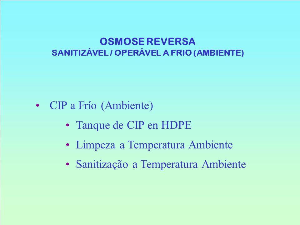 CIP a Frío (Ambiente) Tanque de CIP en HDPE Limpeza a Temperatura Ambiente Sanitização a Temperatura Ambiente OSMOSE REVERSA SANITIZÁVEL / OPERÁVEL A